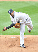 Baltimore, MD - April 6, 2009 -- Pitcher C.C. Sabithia (52) throws his first pitch as a member of the New York Yankees on Opening Day against the Baltimore Orioles at Oriole Park at Camden Yards in Baltimore, MD on Monday, April 6, 2009..Credit: Ron Sachs / CNP.(RESTRICTION: NO New York or New Jersey Newspapers or newspapers within a 75 mile radius of New York City)