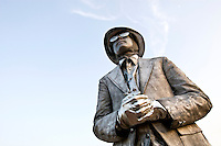 A statue stands at the Charlotte Symphony Park, where the Charlotte Symphony performs its annual summer pops series.