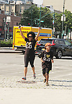 Another World's Rhonda Ross and son Raif at Hearts of Gold Run/Walk for Kids 2018 join with kids and their moms in New York City, New York. After the walk they did tug of war, hop scotch, card games, exercise, food, a fun day on the pier. (Photo by Sue Coflin/Max Photo)