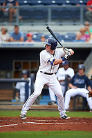 Charlotte Stone Crabs shortstop Alec Sole (6) at bat during the first game of a doubleheader against the Tampa Yankees on July 18, 2017 at Charlotte Sports Park in Port Charlotte, Florida.  Charlotte defeated Tampa 7-0 in a game that was originally started on June 29th but called to inclement weather.  (Mike Janes/Four Seam Images)