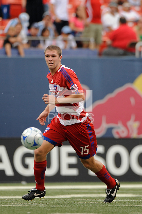 Kyle Davies (15) of FC Dallas. The New York Red Bulls defeated FC Dallas 3-2 during a Major League Soccer match at Giants Stadium in East Rutherford, NJ, on August 23, 2009.