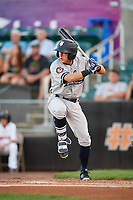 Staten Island Yankees designated hitter Kyle Gray (18) at bat during a game against the Aberdeen IronBirds on August 23, 2018 at Leidos Field at Ripken Stadium in Aberdeen, Maryland.  Aberdeen defeated Staten Island 6-2.  (Mike Janes/Four Seam Images)
