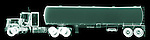 X-ray image of a tanker truck (green on black) by Jim Wehtje, specialist in x-ray art and design images.