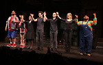 """Nick Kohn, Grace Choi, Veronica J. Kuehn, Matt Dengler, Jason Jacoby, Jamie Glickman and Lacretta during """"Avenue Q"""" Celebrates World Puppetry Day at The New World Stages on 3/21/2019 in New York City."""