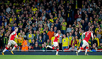 Edward 'Eddie'  Nketiah (centre) of Arsenal celebrates his winning goal during the Carabao Cup match between Arsenal and Norwich City at the Emirates Stadium, London, England on 24 October 2017. Photo by Carlton Myrie.
