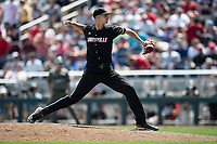 Louisville Cardinals pitcher Brian Hoeing (27) delivers a pitch to the plate during Game 3 of the NCAA College World Series against the Vanderbilt Commodores on June 16, 2019 at TD Ameritrade Park in Omaha, Nebraska. Vanderbilt defeated Louisville 3-1. (Andrew Woolley/Four Seam Images)