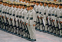 Ghurka Regiment of soldiers on parade in Hong Kong