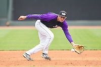 Winston-Salem Dash third baseman Nick Basto (12) fields a ground ball during the game against the Myrtle Beach Pelicans at BB&T Ballpark on May 7, 2014 in Winston-Salem, North Carolina.  The Pelicans defeated the Dash 5-4 in 11 innings.  (Brian Westerholt/Four Seam Images)
