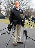 United States President Donald J. Trump speaks to the press as he departs the White House in Washington, DC on Friday, March 8, 2019.  The President will travel to Alabama to see the damage from the tornados earlier in the week before continuing to Florida to spend the weekend at his Mar-a-Lago resort.  The President took questions on the Manafort sentencing, Michael Cohen's testimony, and his charges of anti-semitism against the US House Democrats.<br /> Credit: Ron Sachs / CNP