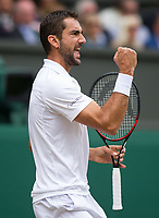 Marin Cilic (7) of Croatia celebrates a point against Sam Querrrey (24) of United States in their Men's Singles Semi Final Match today<br /> <br /> Photographer Ashley Western/CameraSport<br /> <br /> Wimbledon Lawn Tennis Championships - Day 11 - Friday 14th July 2017 -  All England Lawn Tennis and Croquet Club - Wimbledon - London - England<br /> <br /> World Copyright &not;&copy; 2017 CameraSport. All rights reserved. 43 Linden Ave. Countesthorpe. Leicester. England. LE8 5PG - Tel: +44 (0) 116 277 4147 - admin@camerasport.com - www.camerasport.com