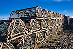 Stacked row of lobster traps, Nauset Harbor, East Orleans, Cape Cod, Massachusetts, USA