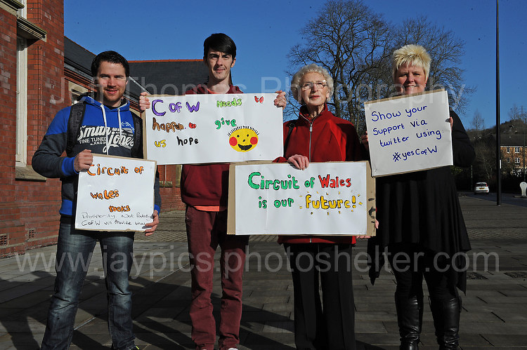 Supporters of the Circuit of Wales racing track that is proposed for Ebbw Vale, Blaenau Gwent.  <br /> <br /> Jeff Thomas Photography -  www.jaypics.photoshelter.com - <br /> e-mail swansea1001@hotmail.co.uk -<br /> Mob: 07837 386244 -