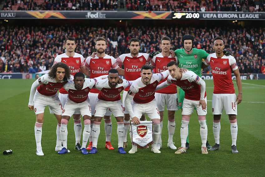 The Arsenal team group<br /> <br /> Photographer Rob Newell/CameraSport<br /> <br /> UEFA Europa League Semi-final 1st Leg - Arsenal v Valencia - Thursday 2nd May 2019 - The Emirates - London<br />  <br /> World Copyright © 2018 CameraSport. All rights reserved. 43 Linden Ave. Countesthorpe. Leicester. England. LE8 5PG - Tel: +44 (0) 116 277 4147 - admin@camerasport.com - www.camerasport.com
