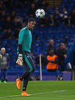 Goalkeeper Jamal Blackman of Chelsea during warm up during the UEFA Champions League match between Chelsea and Maccabi Tel Aviv at Stamford Bridge, London, England on 16 September 2015. Photo by Andy Rowland.