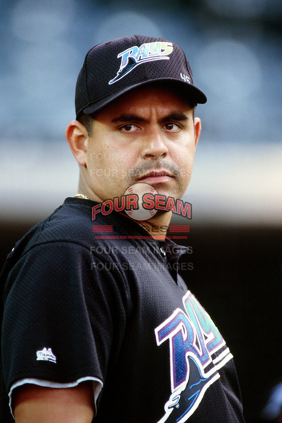 Wilson Alvarez of the Tampa Bay Devil Rays during a game against the Anaheim Angels at Angel Stadium circa 1999 in Anaheim, California. (Larry Goren/Four Seam Images)