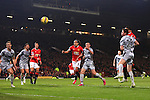 Chris Smalling of Manchester United scores his sides second goal - Manchester United vs. Burnley - Barclay's Premier League - Old Trafford - Manchester - 11/02/2015 Pic Philip Oldham/Sportimage