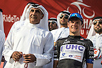 Alessandro Bazzana UnitedHealthcare also wears the Black Jersey at the end of Stage 3, The Al Ain Stage, of the 2015 Abu Dhabi Tour starting from the Al Qattara Souq in Al Ain and running 129 km to the mountain top finish at Jebel Hafeet at 1025 metres, Abu Dhabi. 10th October 2015.<br /> Picture: ANSA/Angelo Carconi | Newsfile
