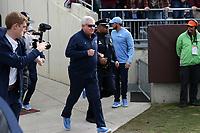 BLACKSBURG, VA - OCTOBER 19: Head coach Mack Brown of the University of North Carolina runs onto the field during a game between North Carolina and Virginia Tech at Lane Stadium on October 19, 2019 in Blacksburg, Virginia.