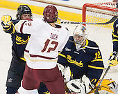 Jared Kolquist (Merrimack - 15), Alex Tuch (BC - 12), Rasmus Tirronen (Merrimack - 32) - The Boston College Eagles defeated the visiting Merrimack College Warriors 2-1 on Wednesday, January 21, 2015, at Kelley Rink in Conte Forum in Chestnut Hill, Massachusetts.