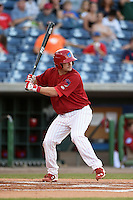 Clearwater Threshers catcher Andrew Knapp (5) at bat during a game against the Tampa Yankees on April 21, 2015 at Bright House Field in Clearwater, Florida.  Clearwater defeated Tampa 3-0.  (Mike Janes/Four Seam Images)