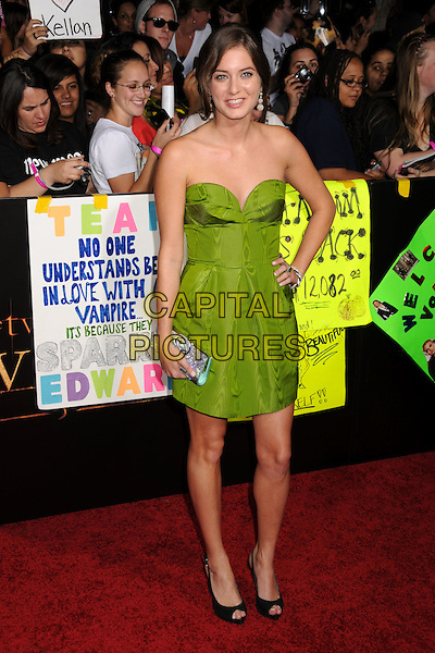"""JUSTINE WACHSBERGER.""""Twilight: New Moon"""" Los Angeles Premiere held at Mann's Village Theatre, Westwood, California, USA..November 16th, 2009.full length green strapless hand on hip silver clutch bag black peep toe shoes .CAP/ADM/BP.©Byron Purvis/AdMedia/Capital Pictures."""