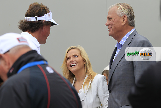 Phil MICKELSON (USA), seen here with his wife Amy and Manager Steve Loy is the Champion Golfer at the 142th Open Championship Muirfield, Gullane, East Lothian, Scotland 21/7/2013<br /> Picture Eoin Clarke www.golffile.ie: