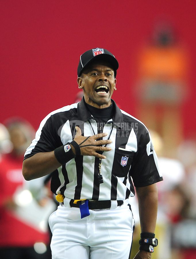 Sept. 13, 2009; Glendale, AZ, USA; NFL referee Carl Johnson during the game between the Arizona Cardinals against the San Francisco 49ers at University of Phoenix Stadium. San Francisco defeated Arizona 20-16. Mandatory Credit: Mark J. Rebilas-