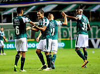 PALMIRA - COLOMBIA - 03 - 03 - 2018: Los jugadores de Deportivo Cali celebran el gol anotado a Rionegro Aguilas Doradas, durante partido entre Deportivo Cali y Rionegro Aguilas Doradas de la fecha 6 por la liga Aguila I 2018, jugado en el estadio Deportivo Cali (Palmaseca) en la ciudad de Palmira. /  The players of Deportivo Cali celebrate a scored goal to Rionegro Aguilas Doradas, during a match between Deportivo Cali and Rionegro Aguilas Doradas of the 6th date for the Liga Aguila I 2018, at the Deportivo Cali (Palmaseca) stadium in Palmira city. Photo: VizzorImage  / Nelson Rios / Cont.