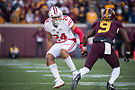 Wisconsin Badgers wide receiver Adam Krumholz (24) defends on special teams during an NCAA College Big Ten Conference football game against the Minnesota Golden Gophers Saturday, November 25, 2017, in Minneapolis, Minnesota. (Photo by David Stluka)