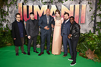 Director Jake Kasdan, Nick Jonas, Dwayne Johnson, Karen Gillan, Jack Black &amp; Kevin Hart at the &quot;Jumanji: Welcome to the Jungle&quot; premiere at the Vue West End, Leicester Square, London, UK. <br /> 07 December  2017<br /> Picture: Steve Vas/Featureflash/SilverHub 0208 004 5359 sales@silverhubmedia.com