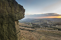 The view from the Standedge Cliffs on the Marsden Moor Estate, Saddleworth, Greater Manchester.