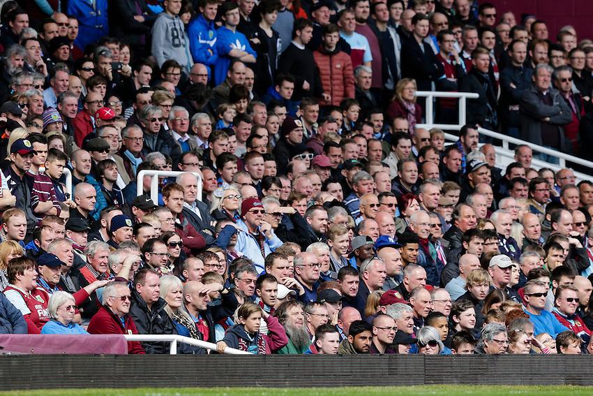 Burnley fans look on during the game<br /> <br /> Photographer Craig Mercer/CameraSport<br /> <br /> Football - Barclays Premiership - West Ham United v Burnley - Saturday 2nd May 2015 - Boleyn Ground - London<br /> <br /> &copy; CameraSport - 43 Linden Ave. Countesthorpe. Leicester. England. LE8 5PG - Tel: +44 (0) 116 277 4147 - admin@camerasport.com - www.camerasport.com