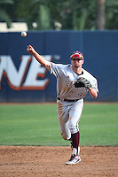 George Janca (44) of the Texas A&M Aggies makes a throw during a game against the Pepperdine Waves at Eddy D. Field Stadium on February 26, 2016 in Malibu, California. Pepperdine defeated Texas A&M, 7-5. (Larry Goren/Four Seam Images)
