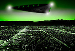 Triangular UFO captured by Night Vision camera flying low over a city