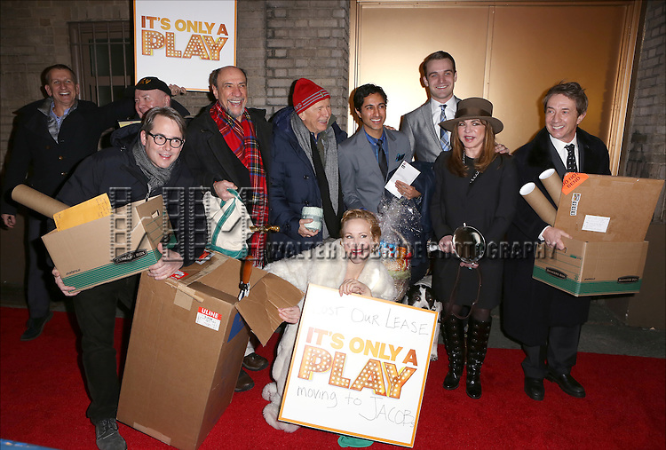 Tom Kirdahy, Jack O'Brien, Matthew Broderick, F. Murray Abraham, Terrence McNally, Katie Finneran, Maulik Pancholy, Micah Stock, Stockard Channing and Martin Short and the cast from 'It's Only A Play' head to their new home at the Bernard B. Jacobs Theatre on January 23, 2014 in New York City.