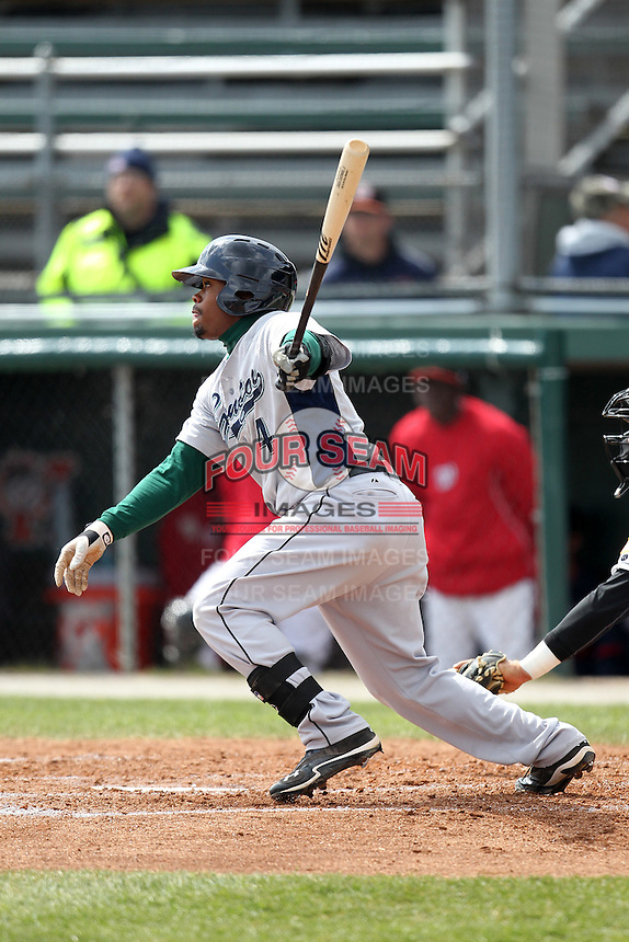 Lexington Legends second baseman Delino DeShields Jr #4 during a game against the Hagerstown Suns at Municipal Park on April 11, 2012 in Hagerstown, Maryland.  Lexington defeated Hagerstown 3-0.  (Mike Janes/Four Seam Images)