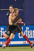 MetroStar Clint Mathis celebrates scoring his fourth goal in as many games with Mark Lisi. The Dallas Burn were defeated by the NY/NJ MetroStars 2-1 on 5/24/03 at Giant's Stadium, East Rutherford, NJ.