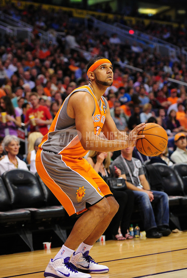 Mar. 25, 2011; Phoenix, AZ, USA; Phoenix Suns forward (3) Jared Dudley against the New Orleans Hornets at the US Airways Center. The Hornets defeated the Suns 106-100. Mandatory Credit: Mark J. Rebilas-.