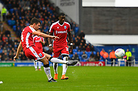 Thomas O'Connor of Gillingham takes a free kick during Portsmouth vs Gillingham, Sky Bet EFL League 1 Football at Fratton Park on 12th October 2019