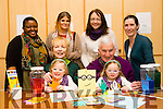 l-r  Maureen Lacey and Martin Lacey with Grandaughters Jessica Lacey and Emma Lacey and back l-r  Nogugug Mafu, Family Support Worker, Fiona O'Shea, Artistic Facilitator, Margaret Hanafin, Volunteer and Kim O'Connor, Community Links Worker on Grandparents Day at St Bridgets Family Resource Centre, Hawley Park