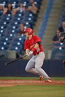 Palm Beach Cardinals second baseman Andy Young (15) follows through on a swing during a game against the Tampa Yankees on July 25, 2017 at George M. Steinbrenner Field in Tampa, Florida.  Tampa defeated Palm beach 7-6.  (Mike Janes/Four Seam Images)