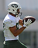 Eric Decker #87, New York Jets wide receiver, makes a catch during training camp at Atlantic Health Jets Training Center in Florham Park, NJ on Wednesday, Aug. 17, 2016.