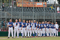 30 july 2010: Team France stands during the national anthem prior to Sweden 3-2 win over France, in day 6 of the 2010 European Championship Seniors, at TV Cannstatt ballpark, in Stuttgart, Germany.