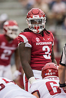 Hawgs Illustrated/BEN GOFF <br /> McTelvin Agim, Arkansas defensive lineman, in the second quarter Saturday, April 6, 2019, during the Arkansas Red-White game at Reynolds Razorback Stadium.