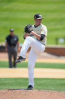 Wake Forest Demon Deacons relief pitcher Morgan McSweeney (35) in action against the Pitt Panthers at David F. Couch Ballpark on May 20, 2017 in Winston-Salem, North Carolina. The Demon Deacons defeated the Panthers 14-4.  (Brian Westerholt/Four Seam Images)