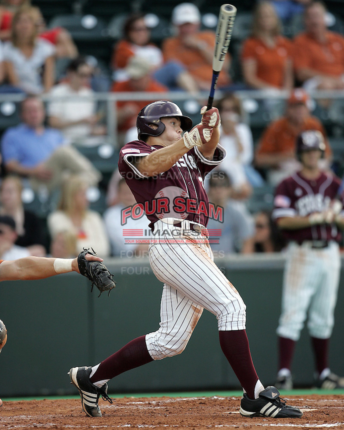 Texas A&M 2B Blake Stouffer swings against Texas on May 16th, 2008 in Austin Texas. Photo by Andrew Woolley / Four Seam images..
