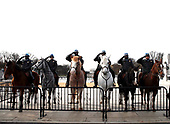 Police mounted on horses salute as the hearse carrying former President George H.W. Bush passes by the World War II Memorial Wednesday, Dec. 5, 2018, in Washington. <br /> Credit: Alex Brandon / Pool via CNP