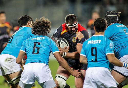 12.11.2016. Frankfurt, Germany. International rugby union friendly between Germany and Uruguay.  Adriaan Theisinger (Germ) runs into the Uruguay pack
