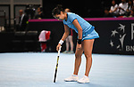 Zarins Diyas (Kazakhstan) looks dejected. Rubber 1. Great Britain v Kazakhstan. World group II play off in the BNP Paribas Fed Cup. Copper Box arena. Queen Elizabeth Olympic Park. Stratford. London. UK. 20/04/2019. ~ MANDATORY Credit Garry Bowden/Sportinpictures - NO UNAUTHORISED USE - 07837 394578