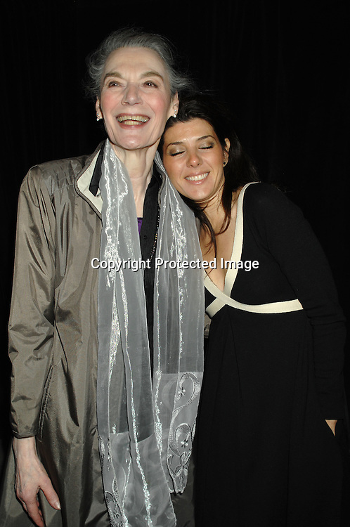 """Marian Seldes and Marisa Tomei..arriving at The Broadway Opening of """"The Year of Magical ..Thinking"""" written by Joan Didion and starring Vanessa Redgrave on March 29, 2007 at The Booth Theatre in New York...Robin Platzer, Twin Images"""
